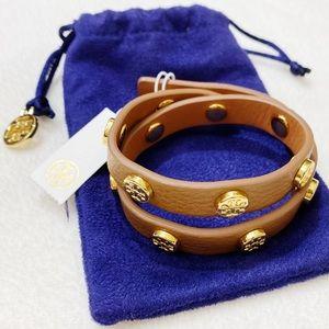 NWT Tory Burch Leather Wrap Stud Logo Bracelet